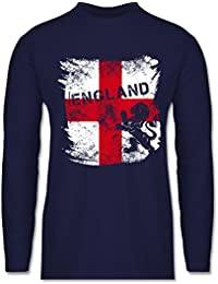 Fußball-WM 2018 - Russland - Englandflagge & Löwe Vintage - Longsleeve / langärmeliges T-Shirt für Herren