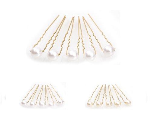 5 épingles à cheveux ornées de perles - accessoire pour cheveux/coiffure de mariée - Épingle à cheveux dorée - blanc