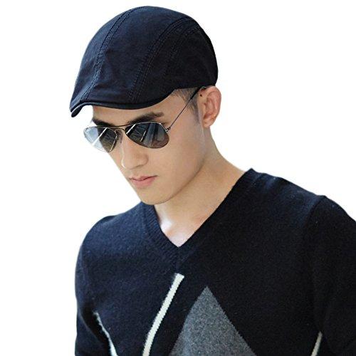 SIGGI Baumwolle Schwarze Schirmmütze Flatcaps Golf Flache Kappe Sommerhut Herren