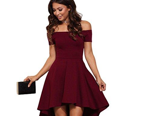 YCMDM Femmes Nouveau Irrégulier Sexy Slim épaule manches courtes couture robe de couleur unie wine red