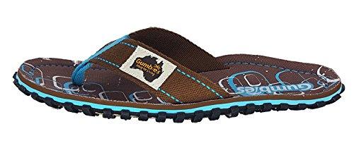 Gumbies Damen Zehentrenner - Rosa/Blau Schuhe in Übergrößen Spangle