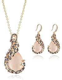 Glamcove's Golden Color Peacock Metal Necklace Set For Women