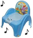 Topf de Toilette Musical für Baby Kinder Sessel Stuhl mit Tiermotiv Safari blau