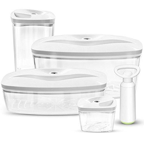 Set 4 dafi contenitori sottovuoto per alimenti con pompa | 0.5l, 1.3l, 1.5l, 2.7l | colore: bianco
