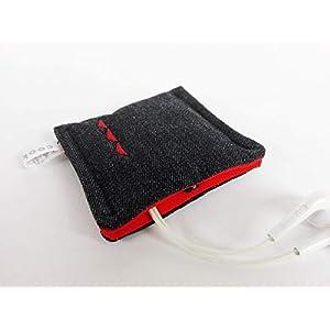 Kleines Etui mit Druckknopf. Aufbewahrungstasche – Earplug, Earpod, Kopfhörer Tasche, USB Stick Bag, Täschchen. Kleines Geschenk. Schwarz-Rot