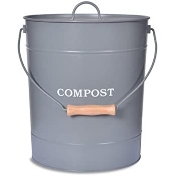Extra Large Charcoal Grey Metal Kitchen Compost Caddy   Composting Bin For  Food Waste Recycling