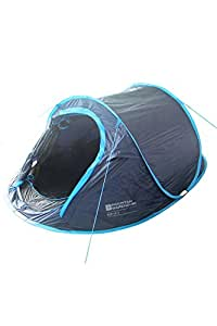 Mountain Warehouse Pop Up Tent with Groundsheet - 3 Man Camping Tent, Water Resistant Family Tent, Double Skin, Easy Pitch, Lightweight Sleeping Tent- For Backpacking Trips Blue