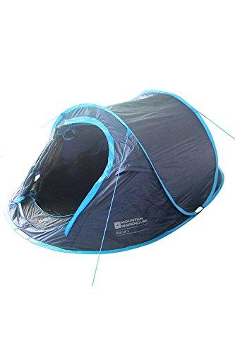 Mountain Warehouse Pop-up-Zelt mit Zeltboden - 3-Personen-Campingzelt, Wurfzelt, wasserabweisendes Familienzelt, doppelschichtig, leicht, Schlafzelt - Für Festivals Blau