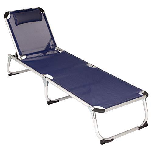 Divero Gartenliege Camping Liege blau 187x57x30 cm mit Kopfkissen Sonnenliege klappbar 5fach verstellbar Aluminiumrahmen grau Dreibeinliege wetterfest robust Puula