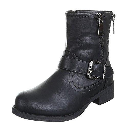 Damen Schuhe STIEFELETTEN GEFÜTTERTE SCHNALLEN DEKO BOOTS Farben: Schwarz Camel Khaki Größen: 36 37 38 39 40 41 Schwarz