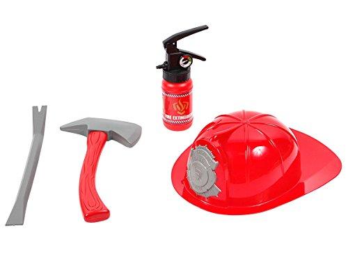 Set de pompier jouet en plastique composée de 4 accéssoires, Casque Marteau Pied de biche Extincteur avec fonction de projection d'eau rouge argenté idée de cadeau sympa et pas cher pour enfant garco