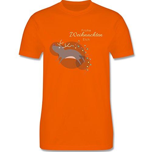 Weihnachten & Silvester - Verrückter Weihnachtselch Frohe Weihnachten - S - Orange - L190 - Herren T-Shirt Rundhals (Die Tannenbaum Gute Nachricht)