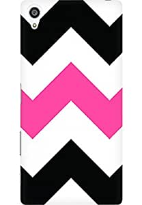 AMEZ designer printed 3d premium high quality back case cover for Sony Xperia Z5 Premium (zig zag pink)