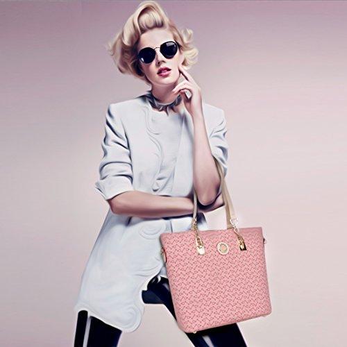 Rucksackhandtasche, iTECHOR 6 Stück Set von Damen Lash Printing Handtasche Geldbeutel Schlüsselkasten Pink