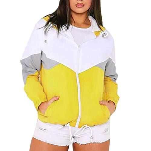 Geili Jacke Damen,Frauen Herbst Langarm Dünne Haut Anzug Mode Damen Farbe Block Patchwork mit Kapuze Sport Sweatshirt Zip Mantel Reißverschluss Windjacke Outwear -
