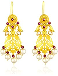 Ahilya Jewels Imperial Filigree Collection .925 Sterling Silver Gold Plated Hanging Earrings