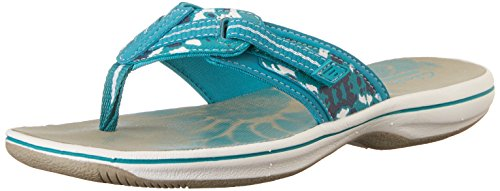 Clarks Brinkley Jazz Thong Sandale Teal Camo Synthetic