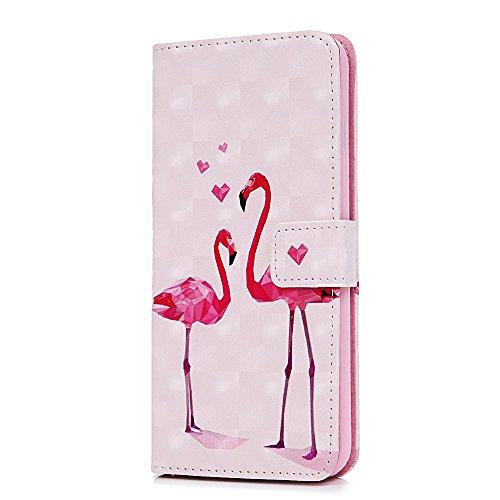 Badalink Hülle für iPhone 6 Plus/6s Plus 3D Gemalt Schwarz Muster Handyhülle Leder PU Cover Magnet Flip Case Schutzhülle Kartensteckplätzen Ständer Handytasche mit Eingabestifte und Staubschutz Stecke Flamingo