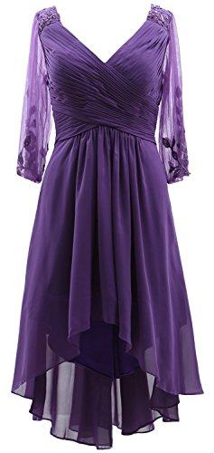 MACloth 3/4 Sleeves V Neck Mother of the Bride Dress Hi-Lo Formal Evening Gown purple