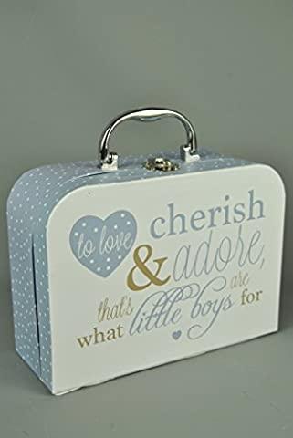 Little Boys Blue Polka Dot Memory Storage Case with Verse