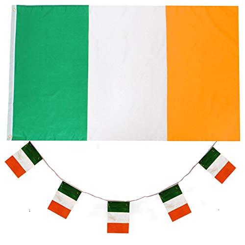 ILOVEFANCYDRESS Irland Dekoration KOSTÜM VERKLEIDUNG =MIT+OHNE ZUBEHÖR=Fussball Sport LÄNDER ABMESSUNGEN VON 152cmX91cm=Flagge ()