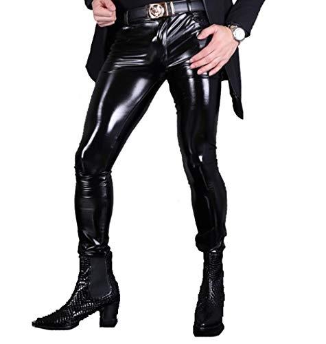 XSQR Sexy Männer Enge Lederhose Bar Rollenspiel Helle Lederhosen Hose aus PU-Leder Latex Motorradhosen,Black,L -