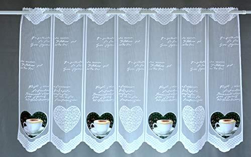 Albani Scheibengardine Kaffee Herz Bedruckt Höhe 45cm oder 60cm | Breite der Gardine frei wählbar in 15cm Schritten | Gardine | Panneaux (Höhe 60cm) Herz Kaffee