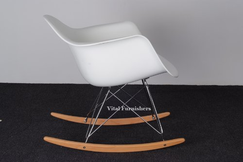 Vital Eames Style RAR lounge Rocking Chair White