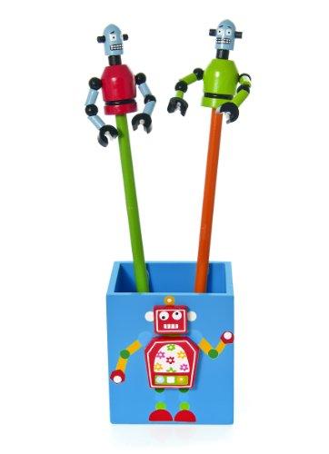 Kinder Jungen Blau Robot Stiftehalter Stiftebox mit hölzernen Bleistiften und Lineal Set Geschenk für Mädchen (Roboter Zimmer Jungen)