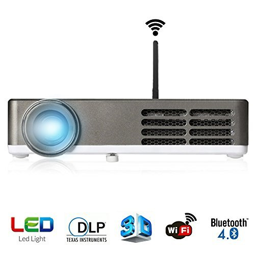ERISAN Smart 3D DLP Android Bluetooth Wi-Fi LED Portable Home Theater & Business Projector - Support HD 1080P Video For Movie/Games/Meeting/Teaching/Presentation PHTP300W