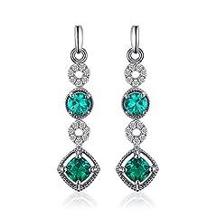 Idea Regalo - JewelryPalace Elegante 0.9ct Nano Russo Artificiale Verde Smeraldo Orecchini Pendente Argento Sterling 925