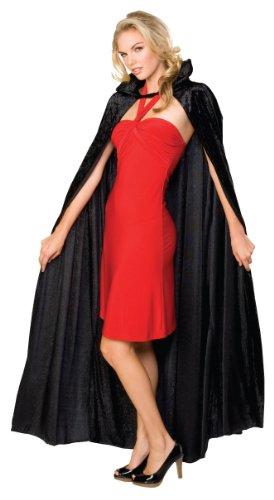 Rubie 's Offizielles Halloween Lange Crushed Samt Umhang, Erwachsenen Kostüm-EINE - Black Robe Kostüm Großbritannien