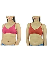 Ishita Fashions Women's Cotton Bra (Pink, Red) - 2 PCs Combo