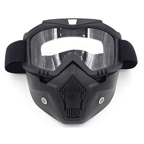 FHGH MMortorcycle Maske Abnehmbaren Motocrossbrille PC Linsenrahmen Abnehmbare Maske Hochelastisches Gummiband Flexible Brille Harley Brille Motorrad Windschutzscheibe Maske (2 StüCk) -
