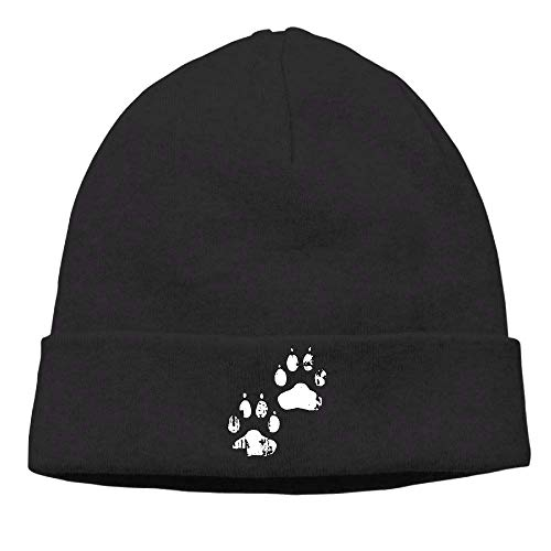 Okhagf Unisex Basic Solid Color Beanie Cap Dog Paw Print Winter Warm Stretchy Knit Beanie for Women and Men Basic Knit Beanie Cap