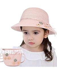 6038aecdc7dee Lachi Sombrero de Paja Niña Gorra de Sol Chica + Bolsillo Set Gorro de  Playa Niñas