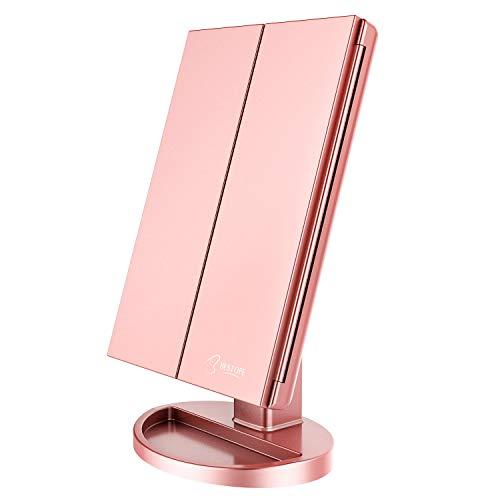 BESTOPE Schminkspiegel Kosmetikspiegel Beleuchtet mit 21 Leuchtmittel Make Up Spiegel 2X/3X Vergrößerung Tischspiegel für Arbeits/Tischplatte durch Akku oder USB-Aufladung(Rosa Gold)