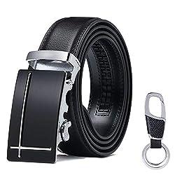 flintronic Herren Gürtel, Leder Ratsche Automatik Gürtel für Männer Ledergürtel Breite 3.5cm Länge 125CM (inkl Schlüsselbund & Geschenkbox)