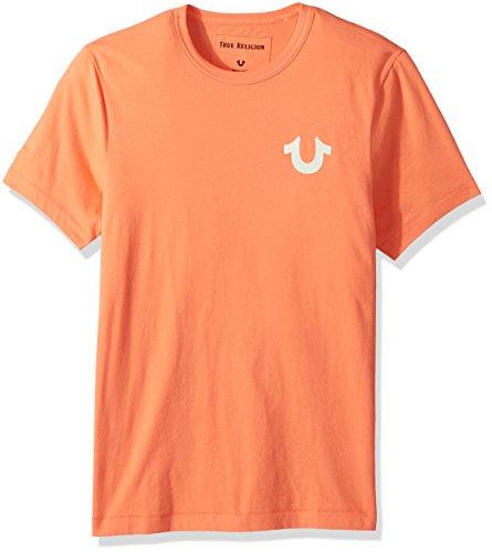 True Religion Herren Double Puff Tee T-Shirt, Sunburst Orange, Mittel Puff Sleeve Hoodie