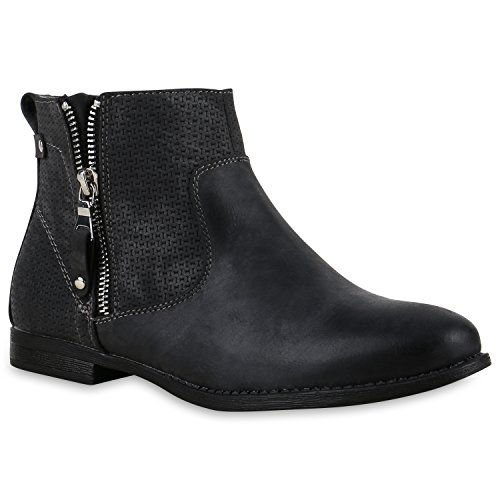 Flache Damen Boots Velours Stiefeletten Zipper Zierknöpfe Schuhe Schwarz
