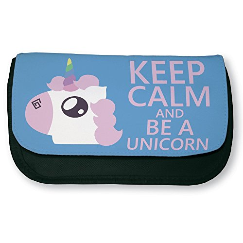 Trousse noire de maquillage ou d'école Keep calm and be a unicorn ( Licorne chibi et kawaii ) by Fluffy chamalow - Fabriqué en France - Chamalow shop