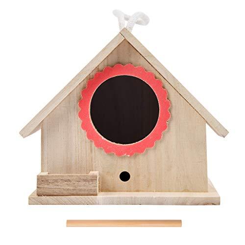 DingLong Vogelhaus Nistkasten, Vogelhäuschen aus Holz, Geschenk für Vogelliebhaber/Naturliebhaber, Aufhängen für Garten und Balkon 18.5x16x14.5cm