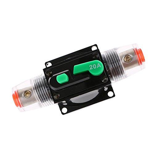 V 24V 32V DC Auto Audio Lesitungsschalter, Sicherheits Zubehör für alle Autos und Boote - Schwarz 20A (Inline-push-button Switch)
