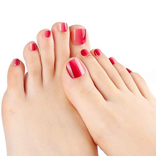 LIARTY 24 Stück Zehennägel Geeignet Sommer Falsche Zehennägel Wasser Rot Farbverlauf für Fullcover Künstliche Toe Nail Tips für Damen und Frauen - Zehennagel-kunst