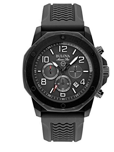 Bulova 98B223–Uhr für Männer, Gummi-Armband Schwarz
