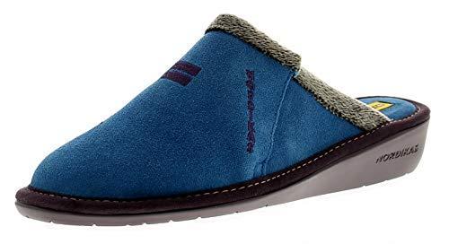Nordikas 8132/8 Cuir Suédé (Afelpa Femmes Cuir Chaussons Bleu - Bleu - Tailles UK 3-8