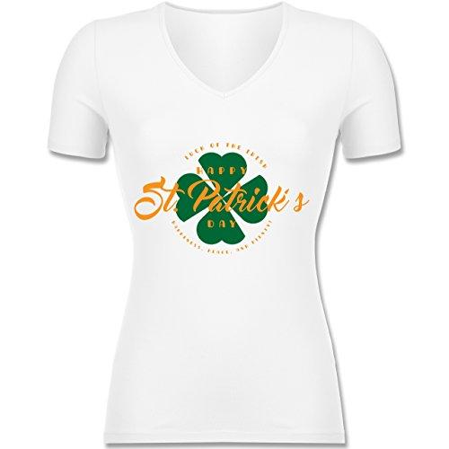 Shirtracer St. Patricks Day - St. Patricks Day Luck of The Irish - Tailliertes T-Shirt mit V-Ausschnitt für Frauen Weiß