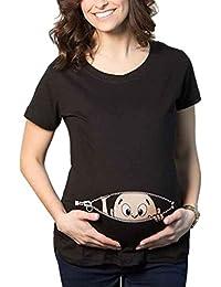 Mengonee Las Camisetas Embarazadas de Maternidad del Algodón del Bebé Ocasional Imprimieron La Ropa del Embarazo Para Las Mujeres Marternity T-Shirt
