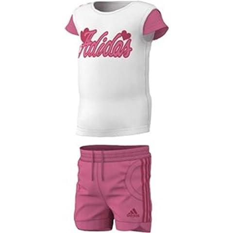 adidas I J G Sum Set - Conjunto camiseta y pantalón de entrenamiento infantil, talla 80 cm, color blanco / rosa