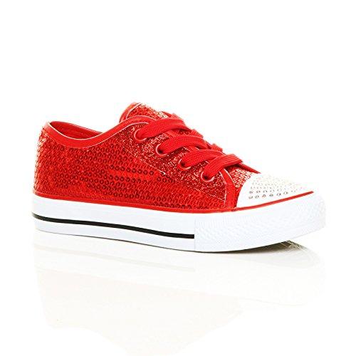 MYSHOESTOREDiamante Canvas Shoes - A collo basso da ragazza' Red / Sequins